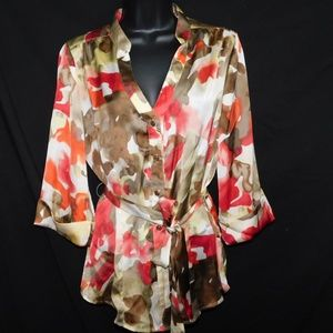 In Studio Wrap Blouse Top Button Down Wide Sleeve